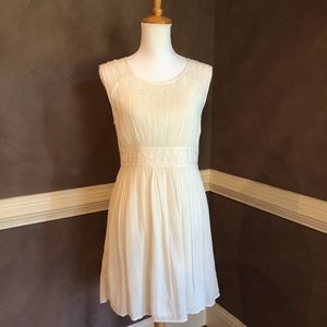 Lucky Brand Cream Dress w/ Embroidery & Hemstitch
